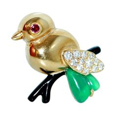 CARTIER Diamond Onyx Ruby Yellow Gold Sparrow Brooch at 1stdibs
