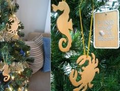 inexpensive diy christmas ornaments from wooden cutouts, christmas decorations, crafts, seasonal holiday decor, Seahorse and crab wooden cutout painted in glossy gold