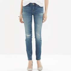 """Madewell Skinny Skinny """"Rip & Repair"""" Jeans These lean, sexy jeans start out perfectly pristine before being artfully distressed to create a well-loved vibe. The result? Each unique pair looks and feels like you've had—and loved—it forever. (All this in special denim that has tons of stretch, never bags out and does life-altering things to the rearview.)  Sold out!! •Sit at hips. •Fitted through hip and thigh, with a slim leg. •92% cotton/6% poly/2% spandex. Madewell Jeans Skinny"""