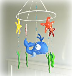 Whale nursery mobile  under the sea  ocean  by LullabyMobiles