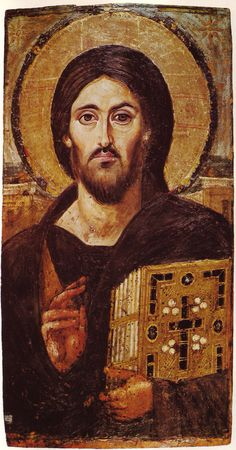 Oldest known Orthodox Icon of Christ written in the 6th Century at Mt Sinai Monastery. The perspective in an Icon is made from the viewers point of view. It is as if you are looking at the Bible Jesus is holding, you are part of an Icon in this way. Nice