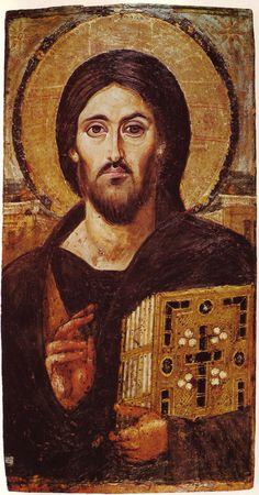 El más antiguo icono ortodoxo conocido de Cristo. Siglo VI.Monasterio del Monte Sinaí.