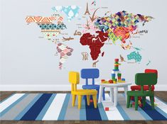 Our customers are having so much fun with this giant world map cultural world map decal pattern map wall by walls2lifedecals sciox Gallery