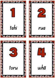Number cards to teach and learn Māori number words to Printable and free. Preschool Songs, Teaching Activities, Teaching Kids, Teaching Resources, Preschool Ideas, Maori Songs, Waitangi Day, Learning Cards, Number Words