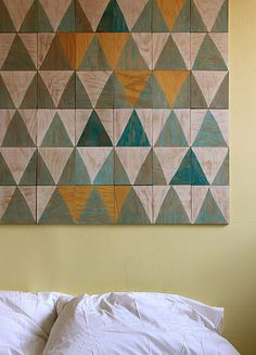 wood tiles. DIY, scrap wood, home art project. I can see a long run in earth tones about the master bed.