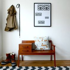 Via Zanders and Sons | Mid Century Modern Telephone Seat | Olle Eksell Poster | Zigzag Rug