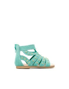 mint studded sandals for baby girl