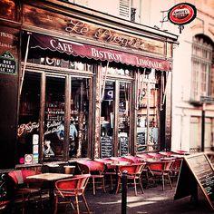Paris Cafe Photograph of a rustic cafe in Montmartre, Paris, France Cafe Bar, Cafe Restaurant, Cafe Shop, Deco Paris, Paris Decor, The Bistro, French Bistro, French Cafe, Montmartre Paris