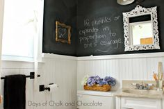 Days of Chalk and Chocolate: Powder Room Reveal: Vintage Schoolhouse Chalkboard