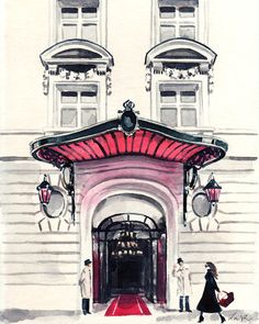 Paris Hotel Le Royal Monceau Giclee Print of by LauraRowStudio
