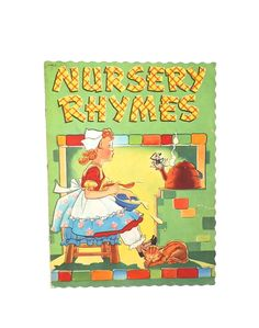 Nursery Rhymes - Vintage Picture Book- Illustrated - Mary Alice Stoddard - Nursery Art - Cats Dogs - Family - Cloth Book