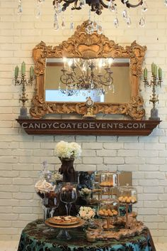 A chocolate table in blue, brown and gold! Party Candy, Candy Buffet, Buffets, Blue Brown, Gold Wedding, Fantasy, Table Decorations, Weddings, Chocolate