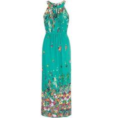Uttam Boutique Floral Print Halterneck Maxi Dress ($93) ❤ liked on Polyvore featuring dresses, green, women, blue sleeveless dress, halter maxi dress, maxi dress, green maxi dress and floral dress