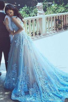 Hot Sale Morden Blue Wedding Dresses, Long Wedding Dresses, Sleeveless Wedding Dresses, Applique Wedding Dresses, Cathedral Train Wedding Dresses WF01G46-497