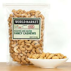 World Market® Roasted & Salted Cashews. I absolutely love cashews, so I eat them in moderation. Well, I try anyway. Giggle!