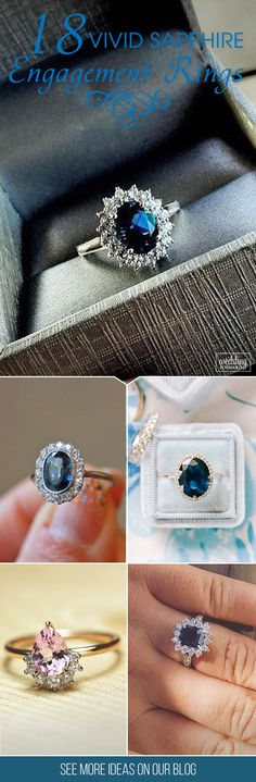 18 Vivid Sapphire Engagement Rings ❤ Brides love sapphires for their bright, deep color. Sapphires rings can be in all colors of the rainbow like blue, pink and yellow. See more: http://www.weddingforward.com/sapphire-engagement-rings/ #wedding #sapphire #engagement #rings