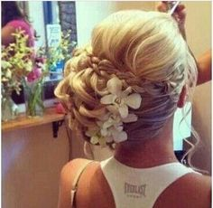 Beautiful updo bridal and prom hairstyle