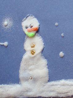 Childhood Beckons: Snowman Art Using Salt