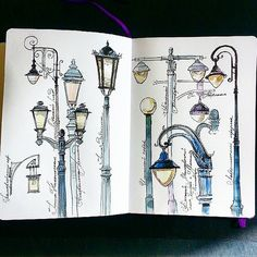 Gathered quite a collection from around Moscow yesterday! :) ----- Такую коллекцию вчера собрала, гуляя по Москве! ;) ----- #Moscow_in_sketches #lantern #urbansketch #arquitetapage | by Nastroeniya