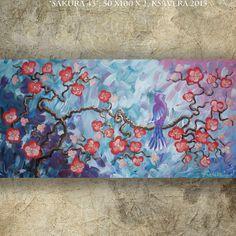 BIRD art on SAKURA TREE art love painting by KsaveraART on Etsy #painting #art #sakura #blue #teal #bird #evening #yellow #flowers #cherryblossom #cherryblossoms #spring #decor #sunset #sunrise #largeart #largepainting #paintings #weddings #gift #gifts