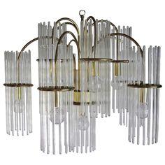 Gaetano Sciolari Crystal and Brass Chandelier | 1stdibs.com