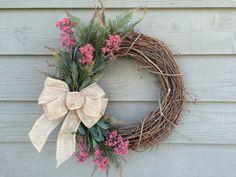 Spring Wreath Grapevine Wreath Front Door by BlueMountainBurlap