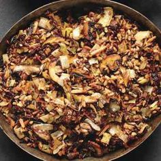 Wild Rice and Mushroom Stuffing! I am going to try this to stuff a pumpkin or a butternut squash for my Vegan hubby for Thanksgiving!