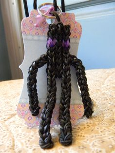 Items similar to Minecraft Enderman Rainbow Loom Keychain - Black with purple Eyes - Long Arms and Legs - Black Enderman Key Chain on Etsy Baby Shower Party Favors, Birthday Party Favors, Birthday Parties, Birthday Ideas, Christmas Baskets, Christmas Stockings, Minecraft Video Games, Minecraft Ideas, Rainbow Loom Keychain
