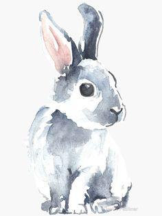 'Moon Rabbit II' Sticker by Denise Faulkner – Виктория - Space