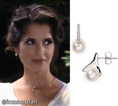 I'm a Soap Fan: Sam Morgan's Pearl Wedding Earrings - General Hospital, Season 54, Episode 09/06/16, Kelly Monaco, #GH Wardrobe, Clothing worn on #GeneralHospital http://imasoapfan.blogspot.com/2016/09/sam-morgans-pearl-wedding-earrings-general-hospital.html