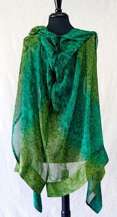 EMERALD ISLE Hand Painted Silk Ruana by Joyflower on Etsy, $225.00