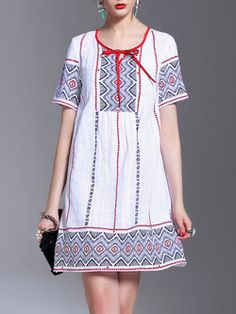 White Linen Casual Two Piece Embroidered Mini Dress