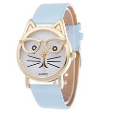 Cute Glasses Cat Women Analog Quartz Dial Wrist Watch Feature: brand new and high quality A classic look, this fashion analog qua. Cute Glasses, Kids Glasses, Glasses Frames, Cat Watch, Bracelet Cuir, Womens Fashion Online, Fashion Women, Style Fashion, Leather Watch Bands