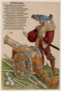 Erhard Schön - Büchsenmyester (Busmeester) - circa 1530 A regiment lansquenets consisted mainly of foot soldiers, but had also an artillery unit. Busmeesters like this 'Jörg Püchsenmeyster' were responsible for the gun. Because of their specific knowledge and skills they enjoyed many privileges. This sheet is very nicely colored. The clothes are even gold find. Heightened
