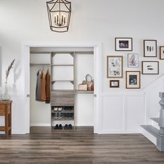 If your coat closet were this organized, you'd leave the doors open too! Featured: SuiteSymphony in Natural Gray #EntrywayCloset #ClosetDesign #ClosetMaid Entryway Closet, Closet Bedroom, Mudroom, Door Opener, Gallery Wall, Doors, Gray, Storage, Natural