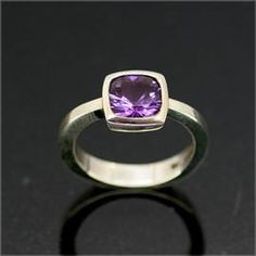 image of: Sterling Silver Ring set with Optix Cut purple Amethyst 'Moore' design