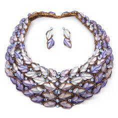 Vintage Lucite Purple Leaf Statement Runway Collar Necklace & Earrings Set | Clarice Jewellery