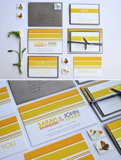 Mrs Wishart Stationery ~ Colourful and Creative Wedding Invitations, Cards and Stationery.  Modern contemporary yellow and orange wedding stationery by Mrs Wishart http://mrswishart.co.uk/