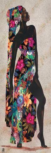 Flowers in serengetti. Black Women Art, Black Art, African Beauty, African Women, Afrique Art, African Paintings, African Theme, Art Africain, Poster Prints