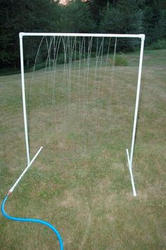 PVC Sprinkler water toy.  Made one very similar for the girls today.  They LOVE it.  Even said I don't have to put up the pool this year...I bet they'll change their minds before the weeks up.