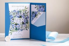 Watercolour Floral 'Our Ever After' Wedding Invitation Suite - Monica & Chandler Lavender Wedding Invitations, Unique Wedding Invitations, Wedding Invitation Suite, Custom Invitations, Invitation Design, Wedding Stationery, Pocket Invitation, Invitation Cards, Floral Watercolor