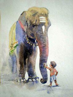 Baby animals drawings beautiful 51 Ideas for 2019 Indian Art Paintings, Animal Paintings, Watercolor Landscape Paintings, Watercolor Paintings, Abstract Paintings, Oil Paintings, Arte Ganesha, Art Sketches, Art Drawings