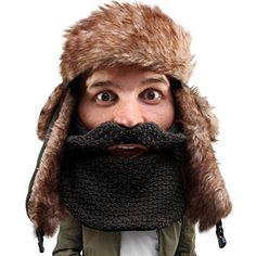 124f25f4c4d Beard Head The Original Classic Trapper Knit Beard Hat Black     Be sure to