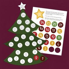 stick numbers on a tree.  print on glossy photo paper to make it really shine. Then cut out tree pieces and tape together. If you plan to use this countdown calendar year after year, have it laminated. Cute out each of the numbers and the star and place in a plastic sandwich bag. Then each day in December have your kids tape the decoration for that day on the tree.