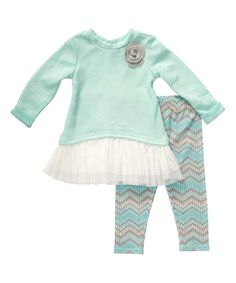 Youngland Turquoise Lace-Hem Tunic & Leggings - Infant, Toddler & Girls by Youngland #zulily #zulilyfinds