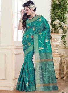 Dazzling Teal Tussar Silk Designer Party Wear Saree http://www.angelnx.com/