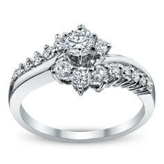 14K White Gold Diamond Engagement Ring 7/8 Carat Total Weight