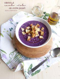vellutata di cavolo viola e crostini piccanti #senzalattosio