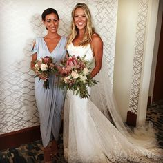 Bride and her maid of honour wearing the Dionne dress. #whiterunway