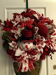 excited to share this item from my etsy shop buffalo plaid snowman front door - Pinterest Christmas Wreaths